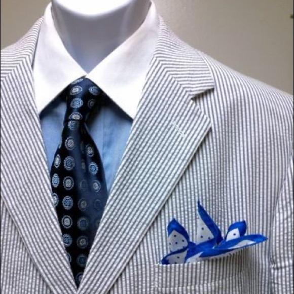 seersucker jacket with blue pants